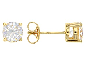 Pre-Owned White Fabulite Strontium Titanate 18k yellow gold over sterling silver stud earrings 2.27c