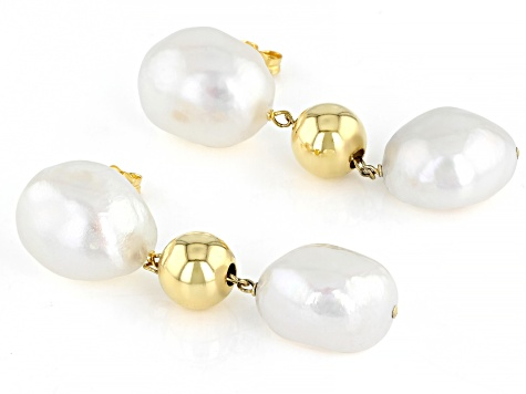 Pre-Owned 12-12.5mm White Cultured Baroque Freshwater Pearls 18k Yellow Gold Over Silver Drop Earrin