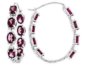 Pre-Owned Purple Rhodolite Sterling Silver Hoop Earrings 14.45ctw