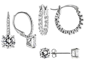 Pre-Owned White Cubic Zirconia Rhodium Over Sterling Silver Earrings Set of 3 9.78ctw