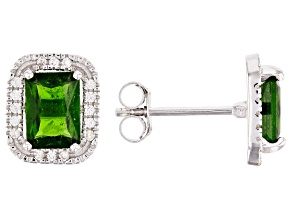 Pre-Owned Green chrome diopside rhodium over sterling silver stud earrings