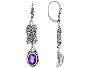 Pre-Owned Purple Quartz Triplet Silver Earrings