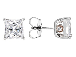 Pre-Owned Cubic Zirconia Silver And 18k Rose Gold Over Silver Stud Earrings 10.42ctw (6.26ctw DEW)