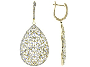 Pre-Owned White Cubic Zirconia 18K Yellow Gold Over Sterling Silver Earrings 11.40ctw
