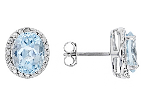 Pre Owned Blue Topaz 4 70ctw With 01ctw White Diamond Sterling Silver Earrings