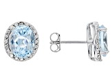 Pre-Owned Blue Topaz 4.70ctw With .01ctw White Diamond Sterling Silver Earrings