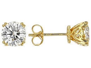 Pre-Owned Moissanite 14k Yellow Gold Over Silver Earrings 2.40ctw DEW