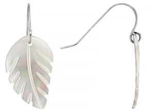 Pre-Owned White Mother of Pearl Rhodium Over Sterling Silver Feather Earrings 13mm