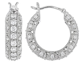 Pre-Owned Moissanite Fire® 1.52ctw Diamond Equivalent Weight Round Platineve™ Hoop Earrings