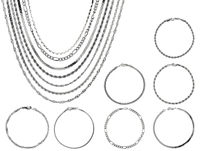 Pre-Owned  Silver Tone Necklace and Bracelet Set of 14