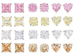 Pre-Owned White, Pink, Yellow And Brown Cubic Zirconia Rhodium Over Sterling Silver Earrings Set 18.