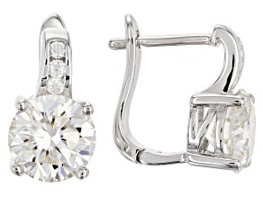 Pre-Owned Moissanite Earrings Platineve 3.92ctw DEW