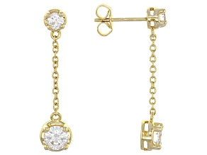 Pre-Owned Moissanite 14k Yellow Gold Over Silver Earrings 1.24ctw DEW
