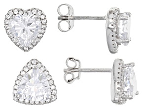 Pre-Owned White Cubic Zirconia Rhodium Over Sterling Silver Heart And Triangle Earrings Set 5.08ctw