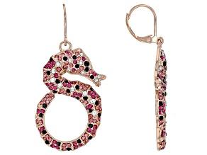 Pre-Owned  Multicolor Crystal Rose Tone Seahorse Dangle Earrings