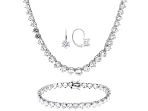 Pre-Owned White Cubic Zirconia Rhodium Over Silver Bracelet, Earrings And Necklace Set 102.30ctw