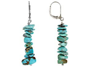 Pre-Owned Kingman Turquoise Rhodium Over Sterling Silver Earrings.