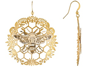 Pre-Owned Two Tone Bee And Honeycomb Earrings