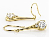 Pre-Owned Moissanite 14k Yellow Gold Over Silver Earrings
