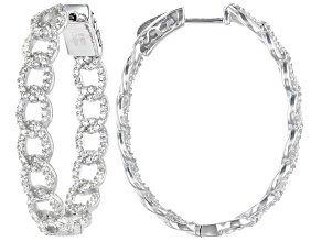 Pre-Owned White Zircon Rhodium Over Sterling Silver Hoop Earrings 2.40ctw
