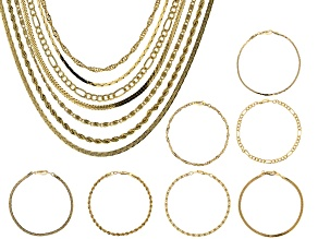 Pre-Owned Gold Tone Chain and Bracelet Set of 14