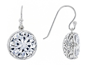 Pre-Owned White Cubic Zirconia Rhodium Over Sterling Silver Earrings 19.00ctw