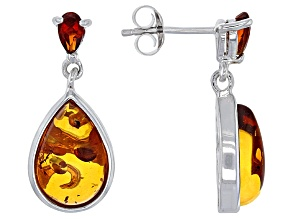 Pre-Owned Orange Polish Amber Sterling Silver Dangle Earrings .37ctw.