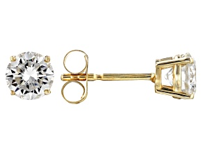 Pre-Owned Moissanite Fire® 1.00ctw Diamond Equivalent Weight Round 14k Yellow Gold Stud Earrings