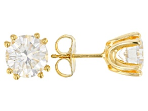 Pre-Owned Moissanite 14k Yellow Gold Over Sterling Silver Stud Earrings 3.00ctw D.E.W.