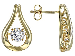 Pre-Owned Moissanite Earrings 14k Yellow Gold Over Silver 1.20ctw DEW.