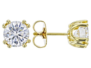 Pre-Owned Moissanite Fire® 2.00ctw DEW Round 14k Yellow Gold Over Sterling Silver Earrings