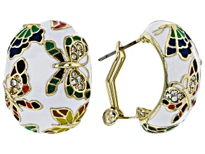 Pre-Owned White Crystal With Multi-Color Enamel Gold Tone Butterfly Earrings