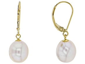 Pre-Owned White Cultured Freshwater Pearl 14k Yellow Gold Dangle Earrings