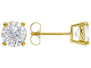 Pre-Owned White Cubic Zirconia 18k Yellow Gold Over Sterling Silver Stud Earrings 4.32ctw