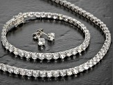 Pre-Owned Cubic Zirconia Silver Necklace, Bracelet And Earrings Set 62.00ctw