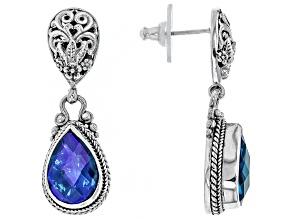 Pre-Owned Blue Rainbow Paraiba Caribbean Quartz Triplet Silver Earrings