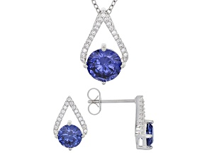 Pre-Owned Blue And White Cubic Zirconia Rhodium Over Sterling Silver Jewelry Set 6.82ctw
