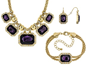 Pre-Owned Purple And White Crystals Gold Tone Necklace, Bracelet and Earring Set