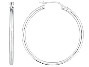 Pre-Owned Polished Sterling Silver Round Tube Hoop Earrings