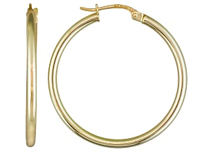 Pre-Owned Polished 18k Yellow Gold Over Sterling Silver Round Tube Hoop Earrings