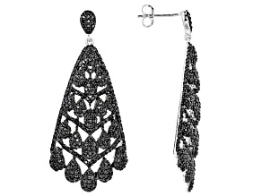 Pre-Owned Black Spinel Rhodium Over Silver Earrings 3.36ctw