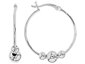 Pre-Owned Sterling Silver 24MM  3-Bead Hoop Earrings