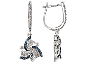 Pre-Owned Blue and White Diamond Rhodium over Sterling Silver Earrings .69ctw