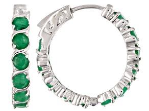 Pre-Owned Green emerald rhodium over silver hoop earrings 5.50ctw