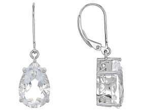 Pre-Owned White Crystal Quartz Rhodium Over Sterling Silver Earrings 8.62ctw