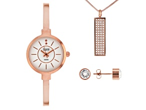 Pre-Owned Burgi™ Crystals From Swarovski™ Rose Tone Base Metal Bangle Watch, Pendant, And Earrings G