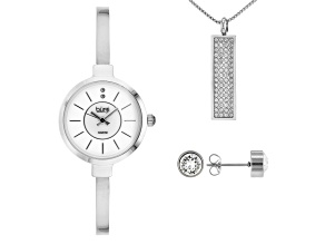 Pre-Owned Burgi™ Crystals From Swarovski™ Silver Tone Base Metal Bangle Watch, Pendant, And Earrings