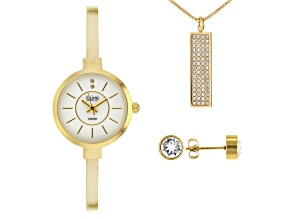 Pre-Owned Burgi™ Crystals From Swarovski™ Gold Tone Base Metal Bangle Watch, Pendant, And Earrings G