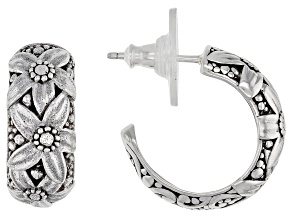Pre-Owned Sterling Silver Floral Huggie Hoop Earrings