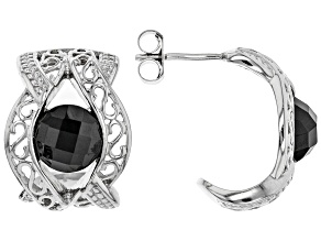 Pre-Owned Black spinel rhodium over sterling silver earrings 3.45ctw